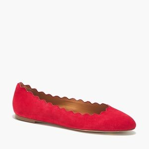 J.Crew factory suede scalloped red ballet flats